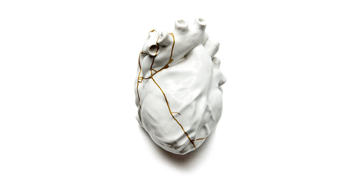 kintsugi broken heart white gold